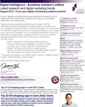 Digital Strategy data - Digital Intelligence August 2012