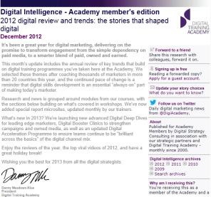 Digital Strategy data - Digital Intelligence December 2012