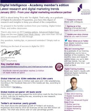 Digital Strategy data - Digital Intelligence January 2013