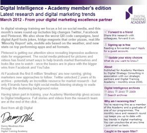 Digital Strategy data - Digital Intelligence March 2012