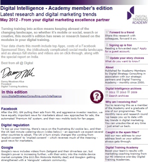 Digital Strategy data - Digital Intelligence May 2012