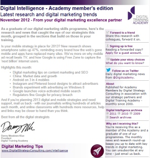 Digital Strategy data - Digital Intelligence November 2012